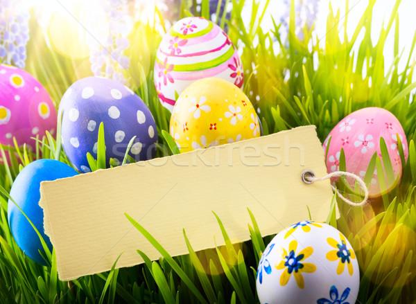 Művészet húsvét húsvéti tojások tavaszi virágok tavasz kék Stock fotó © Konstanttin
