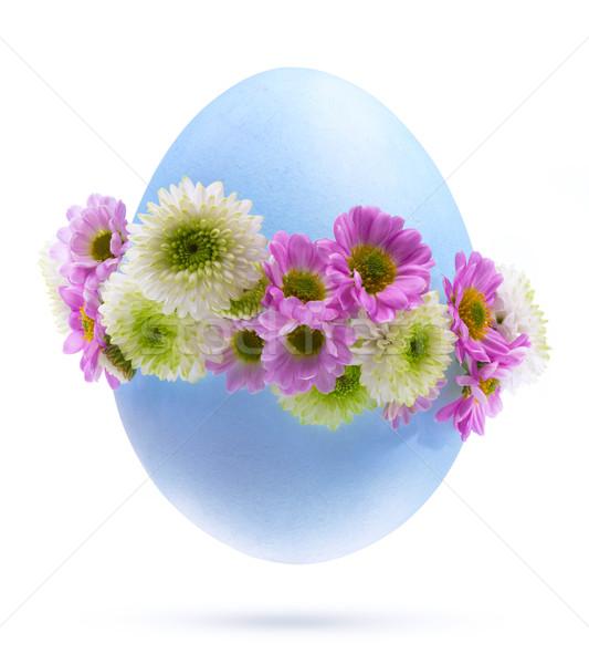 Foto stock: Arte · ovo · de · páscoa · decorado · flores · isolado · branco