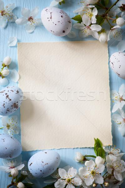 Foto d'archivio: Arte · easter · eggs · fiori · di · primavera · legno · fiori