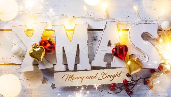 Művészet karácsony ünnepek fény dísz fehér Stock fotó © Konstanttin