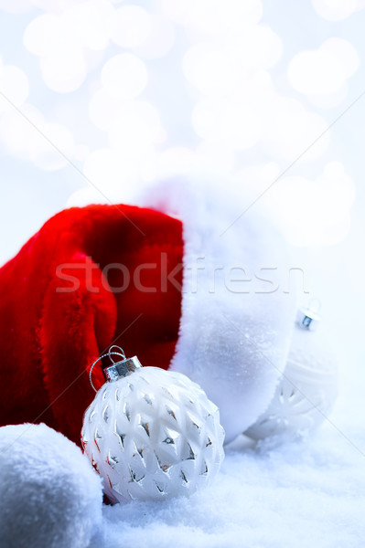 Karácsony mikulás sapkák dekoráció fény Stock fotó © Konstanttin