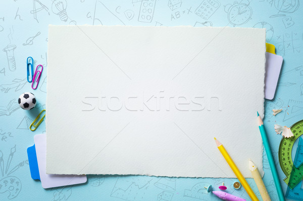 Sztuki widziane powrót do szkoły banner przybory szkolne szkoły Zdjęcia stock © Konstanttin