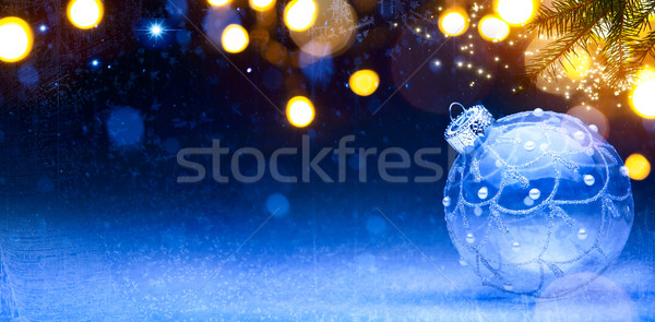 art Blue Christmas background; Christmas composition with Xmas d Stock photo © Konstanttin
