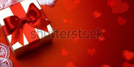 Sztuki walentynki dzień złoty szkatułce czerwony Zdjęcia stock © Konstanttin