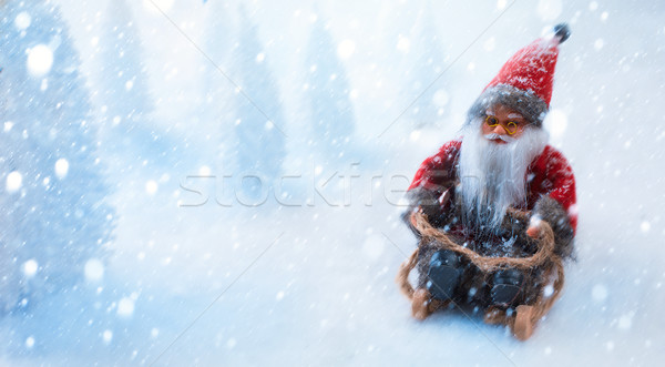 Babbo natale slitta blu regalo bianco Natale Foto d'archivio © Konstanttin