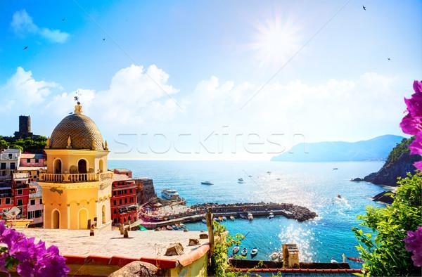 Сток-фото: искусства · романтические · морской · пейзаж · Средиземное · море · Италия · старый · город