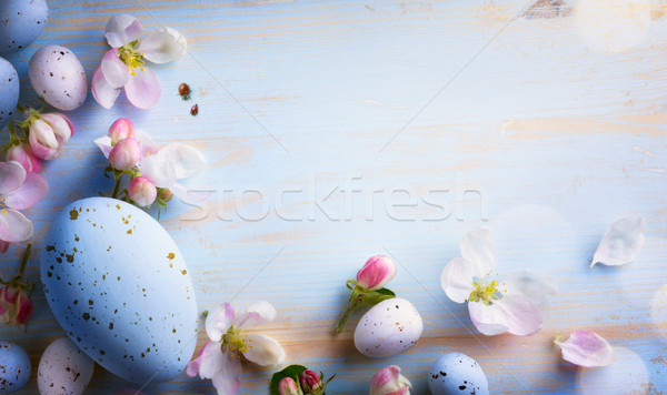 art Easter background with Easter eggs and spring flowers.  Stock photo © Konstanttin