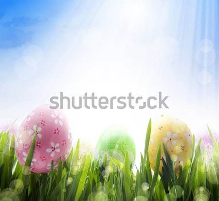 art Colorful Easter eggs on the grass on blue sky background Stock photo © Konstanttin