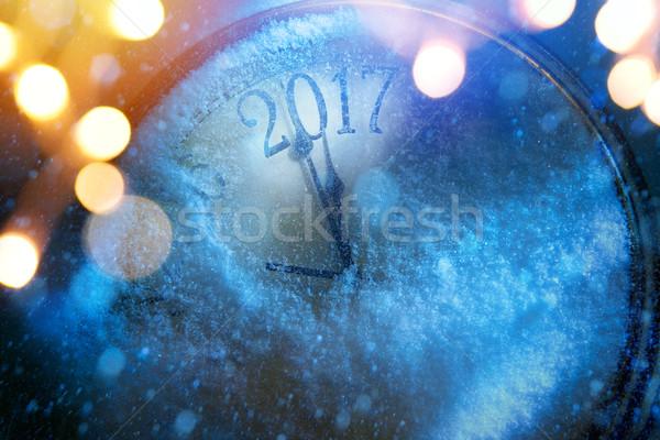 Arte felice nuovo anni party clock Foto d'archivio © Konstanttin