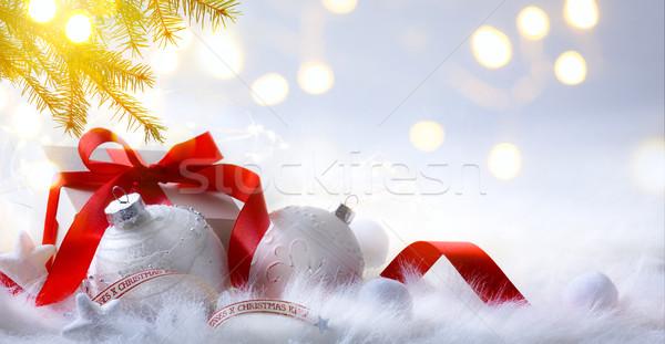 Karácsony dekoráció ajándék ünnepek fehér fa Stock fotó © Konstanttin