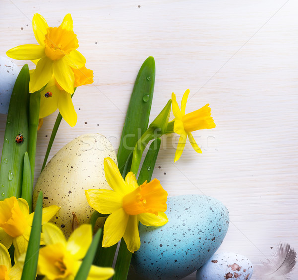 art happy Easter Background with easter eggs and yellow spring f Stock photo © Konstanttin