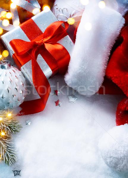 kunst weihnachten geschenkbox hat stock foto. Black Bedroom Furniture Sets. Home Design Ideas