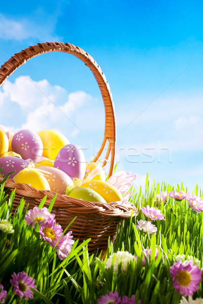 Stock foto: Dekoriert · Ostereier · Gras · Blume · Himmel · glücklich