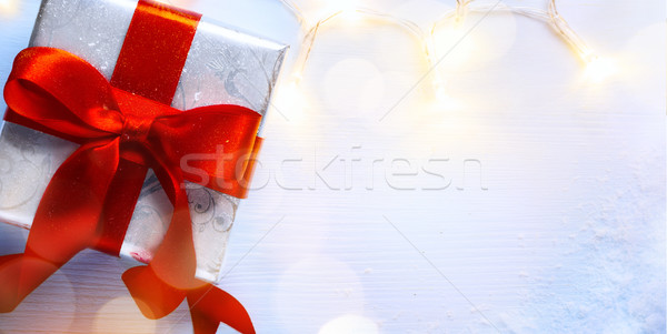 Karácsony ajándék doboz fény ünnepek dekoráció felső Stock fotó © Konstanttin
