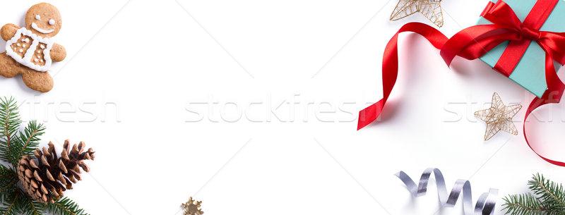 Karácsony ünnep dekoráció alkotóelem keret fenyő Stock fotó © Konstanttin