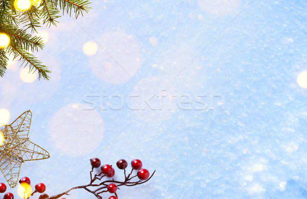 Christmas background with Christmas ornament; holly berry and ho Stock photo © Konstanttin