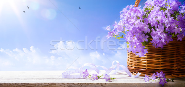 art Easter background with spring flowers a  blue sky background Stock photo © Konstanttin