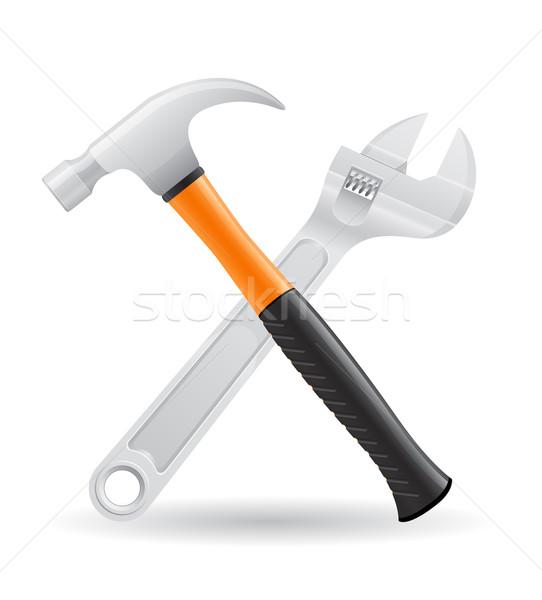 Stock fotó: Szerszámok · kalapács · csavar · franciakulcs · ikonok · izolált