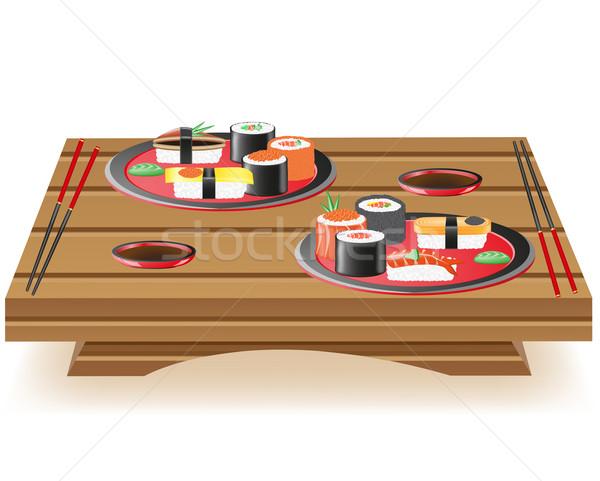 Foto stock: Servido · mesa · de · madera · aislado · blanco · peces · mesa