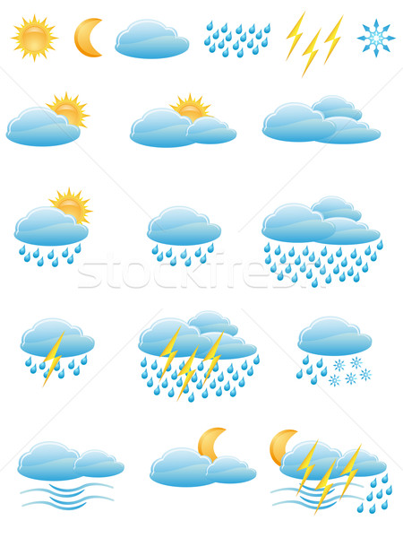 icons of weather Stock photo © konturvid