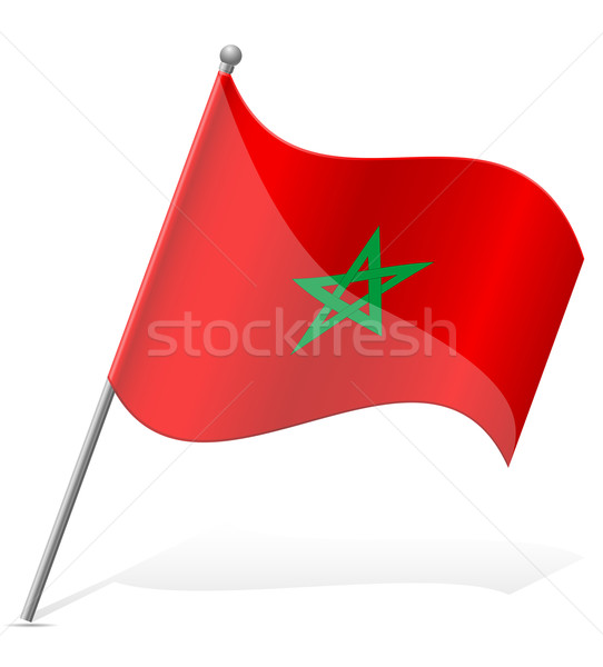 Zászló Marokkó izolált fehér földgömb világ Stock fotó © konturvid