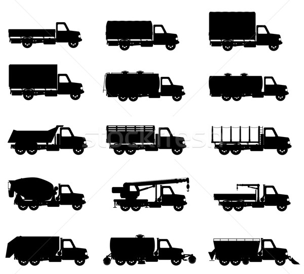 set icons trucks semi trailer black silhouette vector illustrati Stock photo © konturvid