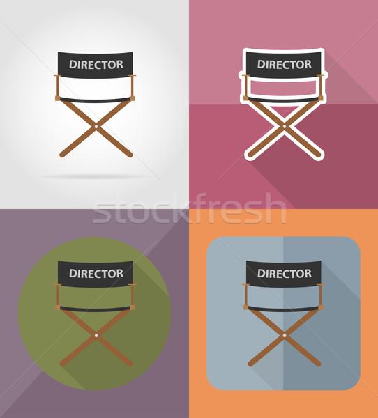 director movie chair flat icons vector illustration Stock photo © konturvid