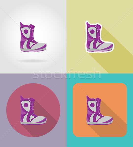 snowboarding boots flat icons vector illustration Stock photo © konturvid