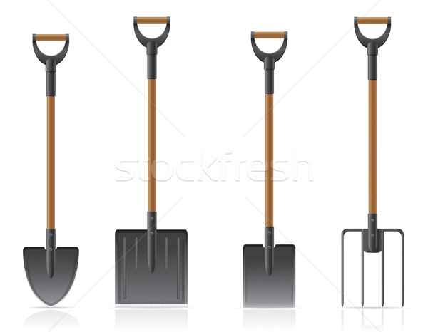 garden tool shovel and pitchfork vector illustration Stock photo © konturvid