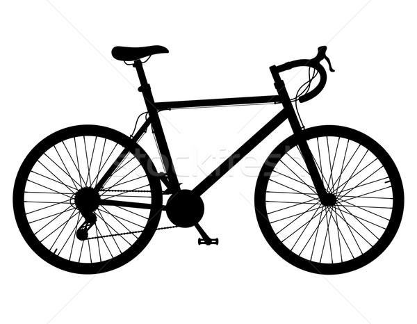 road bike with gear shifting black silhouette vector illustratio Stock photo © konturvid