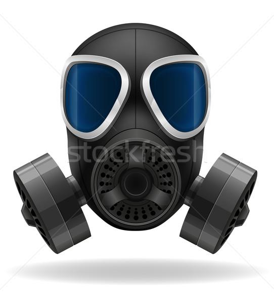 Masque à gaz isolé blanche sécurité fumée industrie Photo stock © konturvid