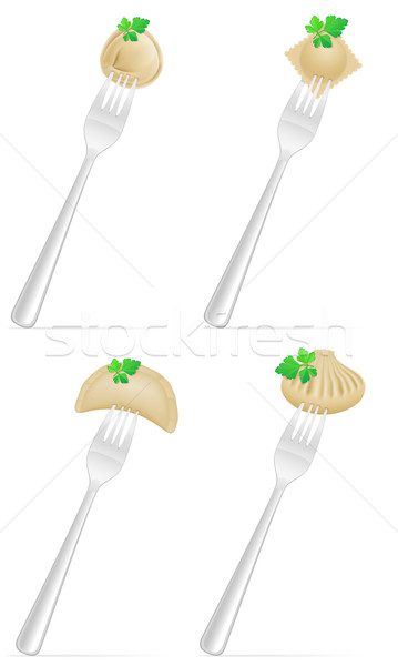 dumplings of dough with a filling and greens on fork set icons v Stock photo © konturvid