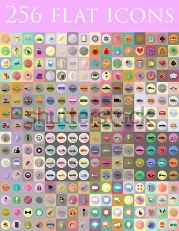 набор иконки изолированный компьютер продовольствие Сток-фото © konturvid
