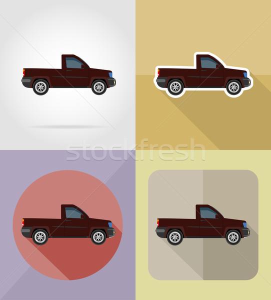 pick-up transport flat icons vector illustration Stock photo © konturvid