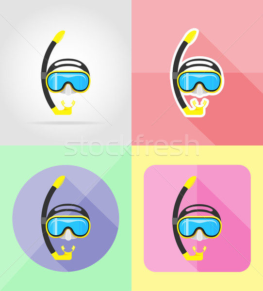 mask and tube for diving flat icons vector illustration Stock photo © konturvid