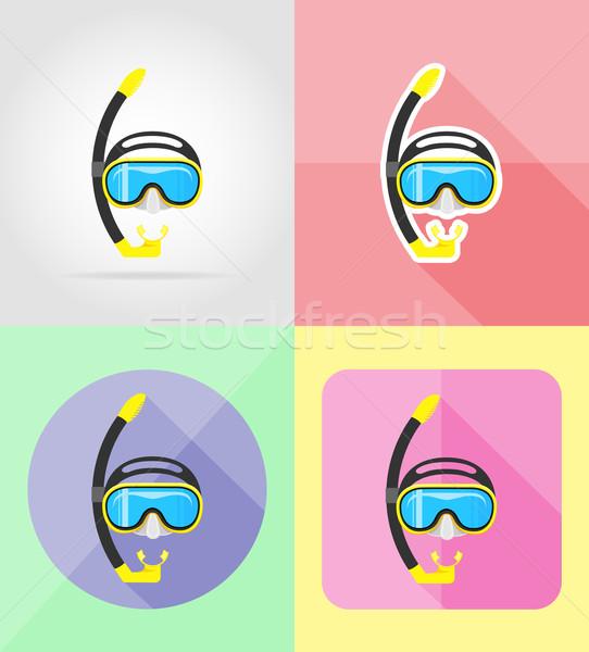Masker buis duiken iconen geïsoleerd strand Stockfoto © konturvid
