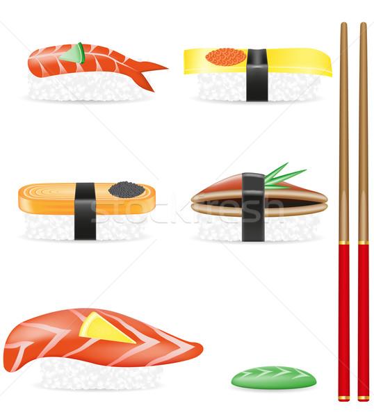 sushi set icons vector illustration Stock photo © konturvid