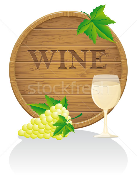 wooden wine barrel and glass vector illustration EPS10 Stock photo © konturvid