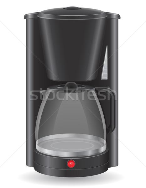 кофеварка изолированный белый черный завтрак Кубок Сток-фото © konturvid
