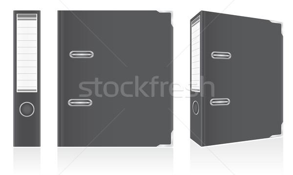 folder black binder metal rings for office vector illustration Stock photo © konturvid