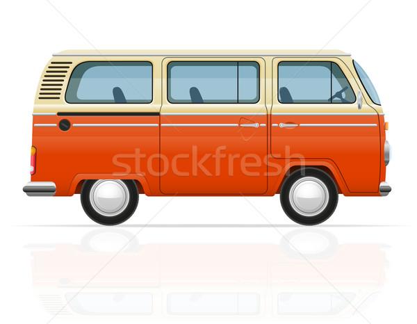 retro minivan vector illustration Stock photo © konturvid