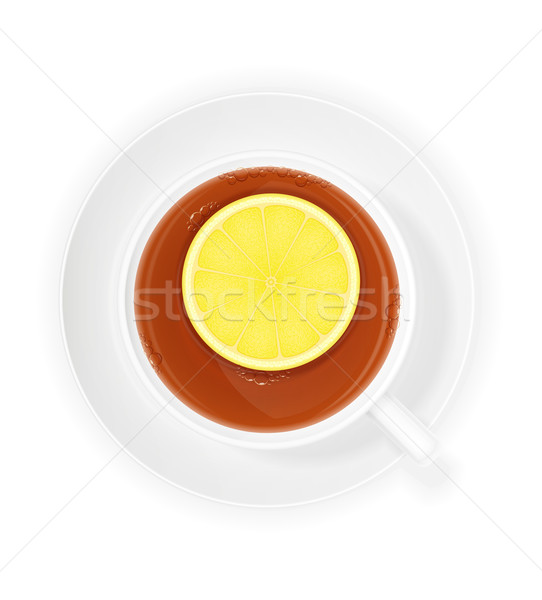 Porselein beker thee citroen geïsoleerd witte Stockfoto © konturvid
