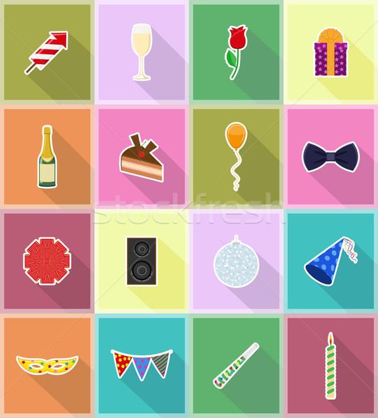 Stock photo: celebrations set flat icons vector illustration