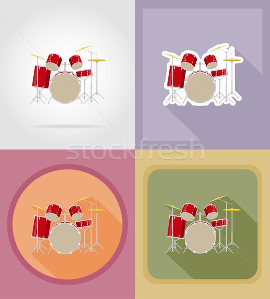 drum set kit flat icons vector illustration Stock photo © konturvid