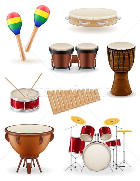 Hangszerek szett ikonok stock vektor izolált Stock fotó © konturvid