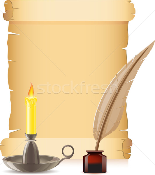 old paper conflagrant candle and feather with inks Stock photo © konturvid