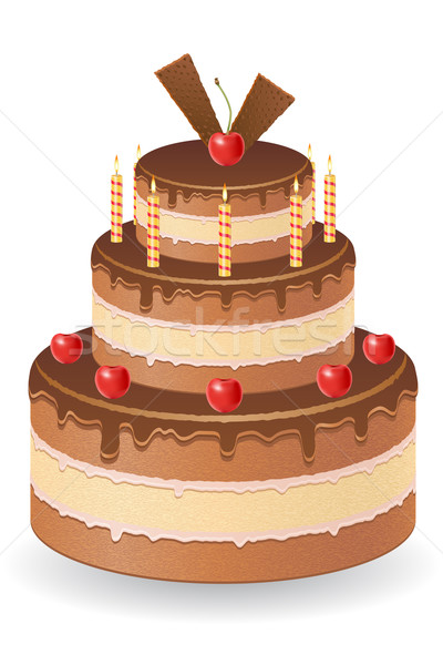chocolate cake with cherries and burning candles vector illustra Stock photo © konturvid