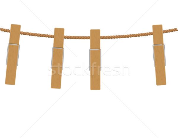 wooden clothespins on rope vector illustration Stock photo © konturvid