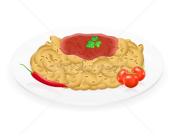 Pasta piatto verdura isolato bianco sfondo Foto d'archivio © konturvid