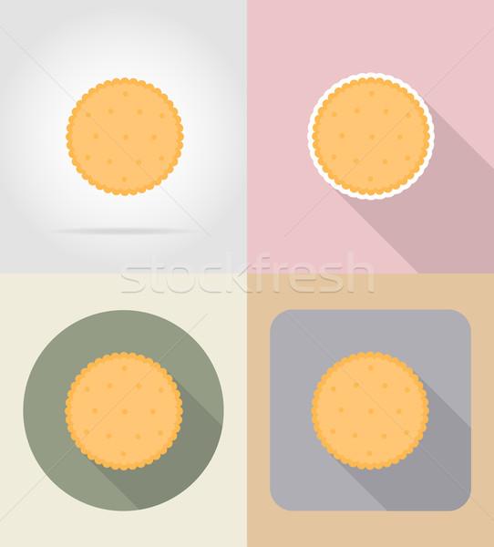 Kurabiye bisküvi gıda nesneler simgeler yalıtılmış Stok fotoğraf © konturvid